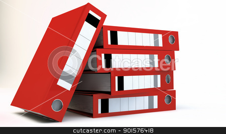 File Folders stock photo, Stack of red File folders over white background by novelo