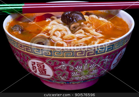 chinese noodle soup stock photo, chinese noodle soup with chopsticks by Hans-Joachim Schneider