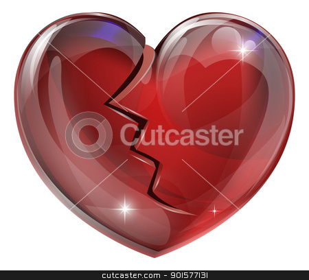 Broken heart  stock vector clipart, Illustration of a broken heart with a crack. Concept for heart disease or problems, being heartbroken, bereaved or unlucky in love.  by Christos Georghiou
