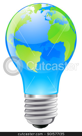 World globe light bulb concept stock vector clipart, Illustration of an electric light bulb with a world globe. Conceptual illustration by Christos Georghiou