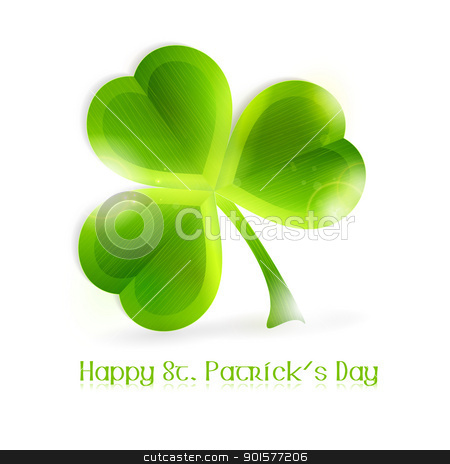 Three leaf vector clover stock vector clipart, Three leafed shamrock isolated on white, vector illustration. Great for any Irish connected themes as the upcoming St. Patrick's day. EPS10 by Ina Wendrock