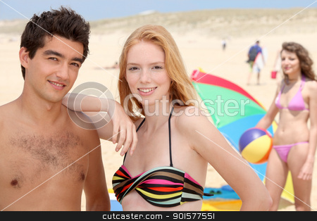 Teenagers on the beach stock photo, Teenagers on the beach by photography33