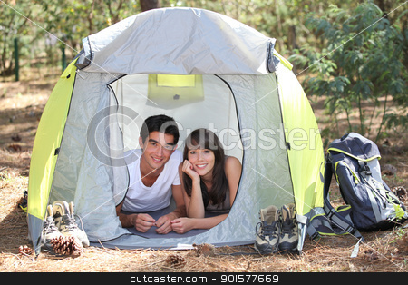 Teenagers camping stock photo, Teenagers camping by photography33