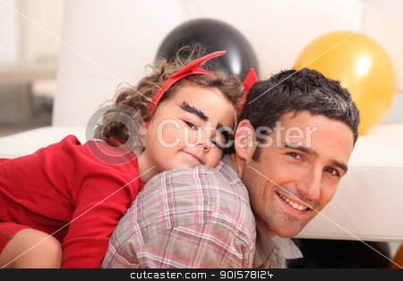 father and little girl celebrating Halloween stock photo, father and little girl celebrating Halloween by photography33