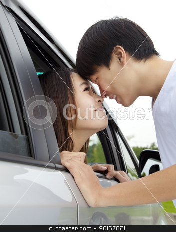 smiling asian couple looking  stock photo, smiling asian couple looking  by tomwang