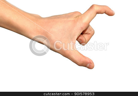 Hand sign stock photo, isolated hand sign over white background, measuring by Julija Sapic