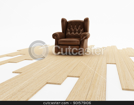 Seat and parquet stock photo, Brown leather classic armchair on parquet floor by Giordano Aita