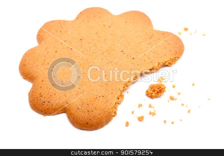 Ginger Cookie stock photo, Half of Ginger Cookie on White Background by JAMDesign