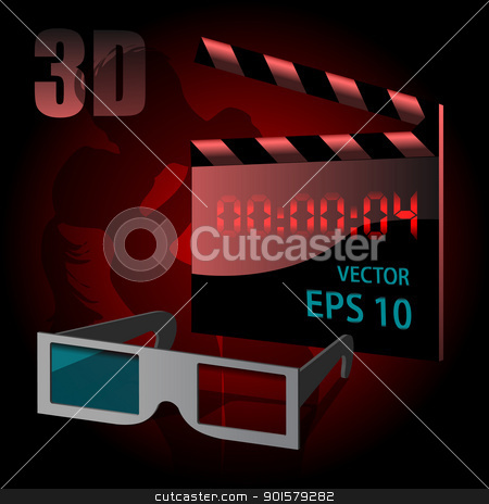 Love story mover 3d set stock vector clipart, Clapperboard for love story 3d movie vector illustration by Ekaterina