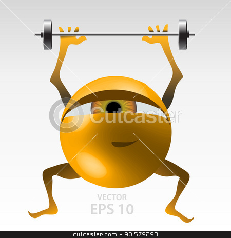 Fitness for eyes stock vector clipart, Yellow funny 3D style eyeball, training to get fit vector illustration by Ekaterina