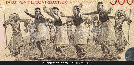 Dancers from Rwanda stock photo, Dancers on 5000 Francs 1998 Banknote from Rwanda. by Georgios Kollidas