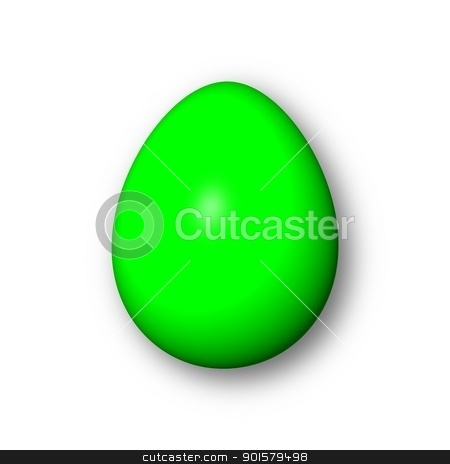 Egg Green stock photo, Green egg on white background with shadow. by Henrik Lehnerer