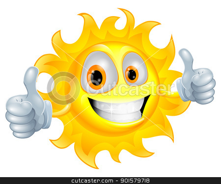 Sun man cartoon character stock vector clipart, A sun cartoon mascot giving a double thumbs up by Christos Georghiou