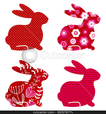 Abstract spring bunny set isolated on white ( red ) stock vector clipart, Spring patterned bunny collection. Vector by BEEANDGLOW
