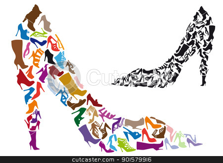 shoe silhouettes, vector stock vector clipart, various shoe silhouettes in stiletto shape, vector background by Beata Kraus