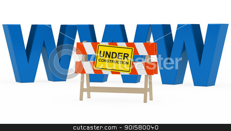 www under construction stock photo, blue www with under construction barrier sign by d3images