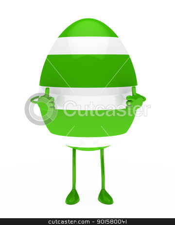 easter egg figure stock photo, green withe easter egg figure show top by d3images