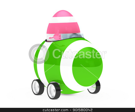 easter egg figure stock photo, pink easter egg figure sit in car by d3images