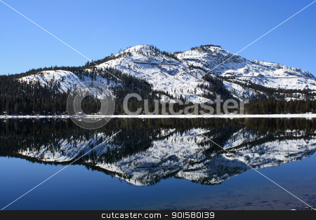 Donner Lake Reflection stock photo, Donner Lake Reflection Donner Summit California by Mindy Linford
