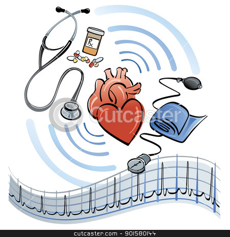 Heart Healthcare stock vector clipart, Illustration of a human heart surrounded by a stethoscope, medicine, blood pressure meter and EKG graph. by Lisa Fischer