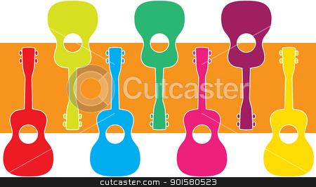 Uke Graphic stock vector clipart, A display of ukuleles in vibrant colors, juxtaposed over a pumpkin color background. by Maria Bell