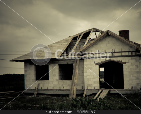 buliding of a house stock photo, building of a roof in some new house by michal812