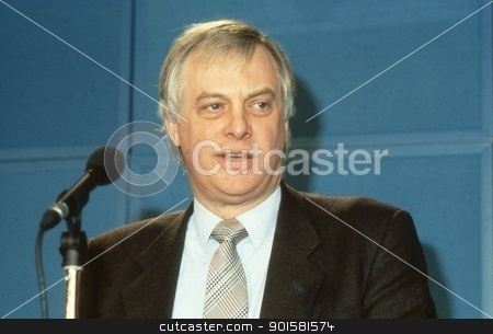 Rt.Hon. Christopher Patten stock photo, Rt.Hon. Christopher Patten, Chairman of the Conservative party, speaks at a press conference in London, England on April 10, 1991. In July 1992 he became the last Governor of Hong Kong. by newsfocus1