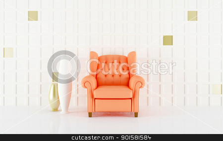 Salmon pink seat stock photo, Salmon pink seat in white luminous home interior by Giordano Aita