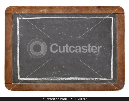 grunge vintage blackboard stock photo, grunge vintage slate blackboard with white chalk rectangle, isolated on white by Marek Uliasz
