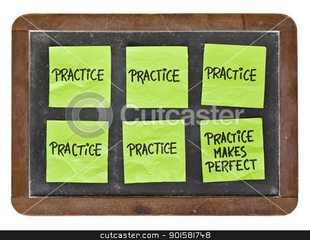 practice makes perfect concept stock photo, practice makes perfect concept - green sticky notes with black handwriting on a vintage slate blackboard by Marek Uliasz