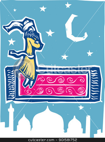 Flying Carpet Color stock vector clipart, Man on flying carpet over middle eastern city. by Jeffrey Thompson