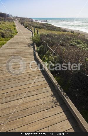 Wooden Walkway Along Ocean Coast stock photo, Wooden Walkway Along Ocean Coast Line. by Andy Dean
