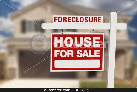 Foreclosure House For Sale Sign and House stock photo, Foreclosure House For Sale Sign in Front of Beautiful Home. by Andy Dean