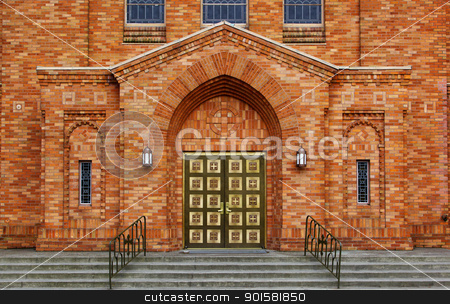 Greek Orthodox Brick Chruch stock photo, Green brass doors and orange brick facade of the front of a Greek Orthodox Church by bobkeenan