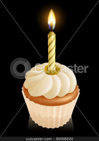 Fairy cake cupcake with birthday candle stock vector clipart, Fairy cake cupcake graphic with gold birthday candle on top by Christos Georghiou