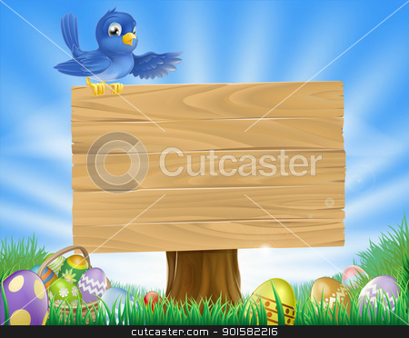 Bluebird Easter cartoon background stock vector clipart, A bluebird Easter cartoon background. Blue bird sits atop  a rustic wooden sign in field of grass with Easter eggs and Easter egg basket.  by Christos Georghiou