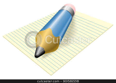Pencil and paper stock vector clipart, Illustration of a blue pencil with eraser on a pad of lined paper by Christos Georghiou