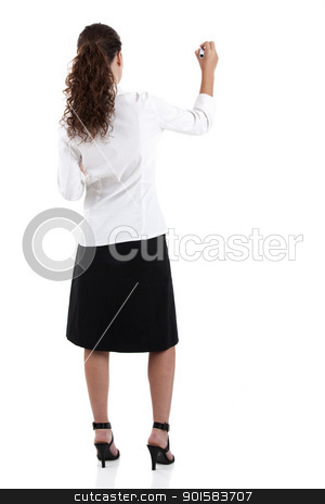 Drawing stock photo, Young businesswoman drawing something, copyspace for the designer by ikostudio