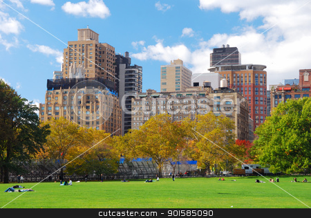 New York City stock photo, New York City Manhattan skyline panorama viewed from Central Park with cloud and blue sky and people in lawn.  by rabbit75_cut