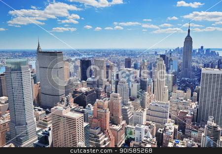 New York City Manhattan panorama stock photo, New York City Manhattan midtown aerial panorama view with skyscrapers and blue sky in the day. by rabbit75_cut