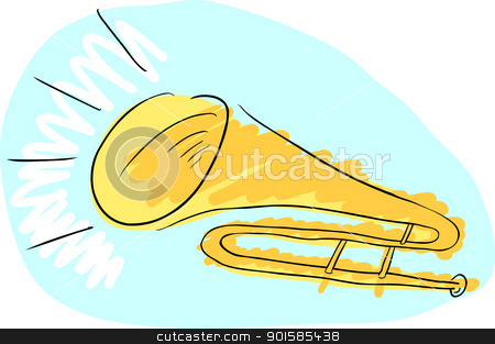 Trombone Doodle stock vector clipart, Doodle drawing of a trombone with sound coming from it by Eric Basir