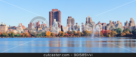 New York City Autumn stock photo, New York City Manhattan Central Park midtown skyline panorama over lake with fountain and blue clear sky in Autumn. by rabbit75_cut