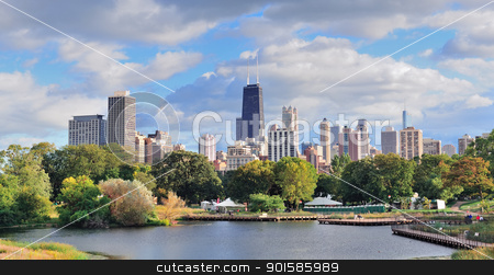 Chicago skyline stock photo, Chicago skyline with skyscrapers viewed from Lincoln Park over lake. by rabbit75_cut