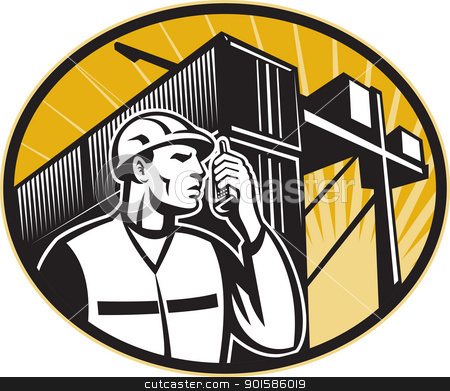 Dock Worker Talking Phone Container Crane stock vector clipart, Illustration of a dock worker talking on the phone with container van and crane overhead done in retro style.  by patrimonio