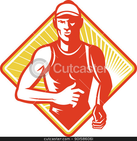 Male Marathon Runner Running Retro Woodcut stock vector clipart, Illustration of a male athlete marathon runner running facing front set inside diamond shape done in retro style. by patrimonio