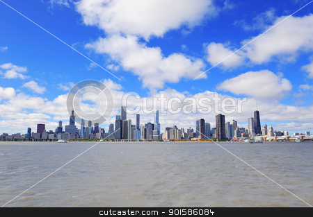 Chicago city urban skyline stock photo, Chicago city urban skyline with skyscrapers over Lake Michigan with cloudy blue sky. by rabbit75_cut