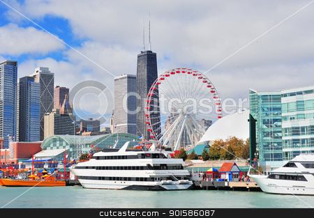 Chicago city downtown stock photo, Chicago city downtown urban skyline with skyscrapers over Lake Michigan with cloudy blue sky. by rabbit75_cut