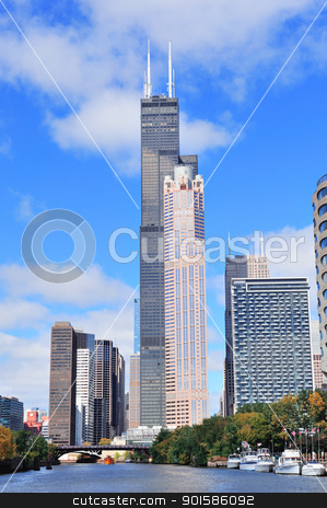 Chicago downtown skyline stock photo, Chicago city downtown urban skyline with skyscrapers over Lake Michigan with cloudy blue sky. by rabbit75_cut