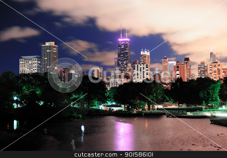 Chicago stock photo, Chicago city urban skyscraper at night over lake viewed from Lincoln Park. by rabbit75_cut