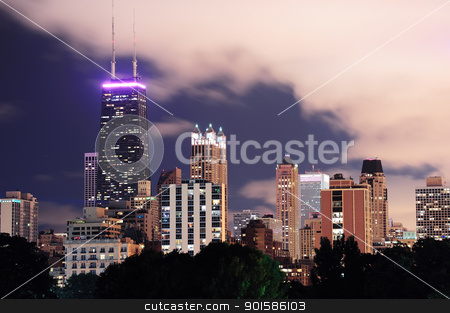 Chicago stock photo, Chicago city urban skyscraper at night viewed from Lincoln Park. by rabbit75_cut